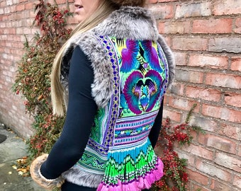 Embroidered Faux Fur Trim Faux Suede Waistcoat with Vintage Thai Hmong Embroideries & Beadwork