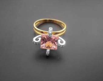 Diamond Ring, 14k Yellow Gold, 14k White Gold,Zirconia  ,Spinel
