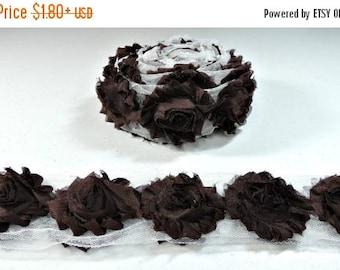 "30% OFF BROWN Chiffon Flowers 1/2 Yard or 1 Yard Shabby Flower Trim Frayed Flowers Chic Rosettes Trim Flower Shabby Rose Flowers 2.5"""