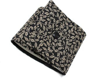 Long length checkbook holder in black and beige cotton fabric