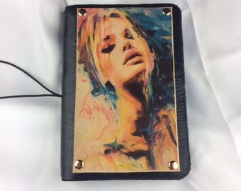 Handmade A6 leather notebook cover with laser printed leather panel of colourful women.
