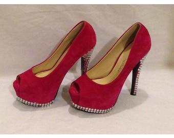 Pink size 3 Hand Modified Diamanté Peep Toe Court Shoe