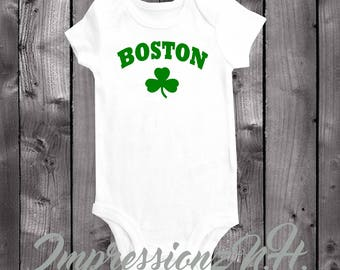 Boston Sports Shamrock baby onesie, one piece shirt, Boston pride, 617, Boston strong, irish onesie, st.patricks day onesie