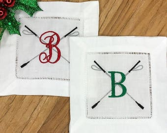 English Riding Crop with Initial Cocktail Napkins Set