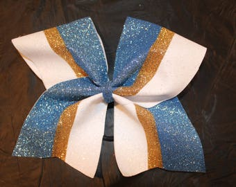 Blue, Gold and White Cheer bow