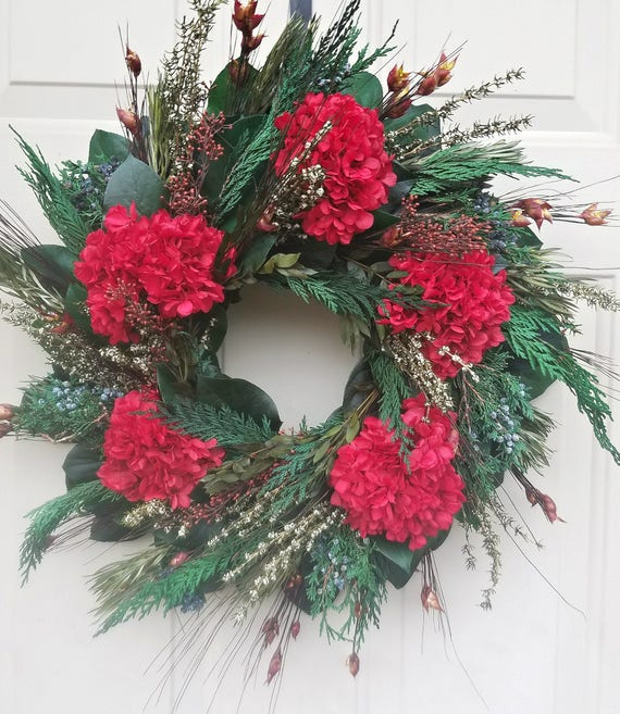 23 inch preserved Christmas wreath, xmas wreath, hydrangea wreath, holiday wreath, gift, red , preserved wreath, wreath, doorhanger