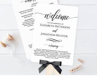 Wedding Fan Program, Printable Fan Program, Order of Service, DIY Program, Fully Editable Template, Instant Download, Digital #020-401WP