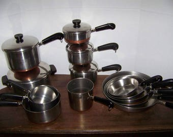 Vntg Revereware  Pots Pans FRYING SKILLETS 1801 Set USA 19 pc Copper Bottom