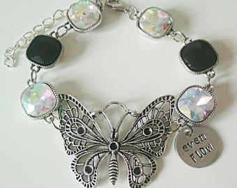Even flow butterfly crystal bracelet