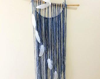 large dream catcher - dreamcatcher - wall art - natural art - blue