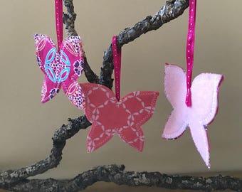 butterfly ornament - set of 3, holiday ornament, soft ornaments, felt ornaments, kid-friendly, california, sedona, arizona, new mexico