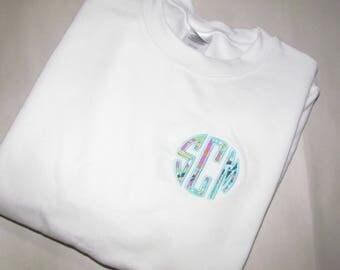 Lilly Pulitzer inspired monogram appliqué sweatshirt