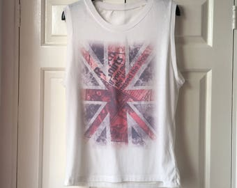 Newspaper Union Jack Tank Top FREE POSTAGE - Lightweight Red, White and Blue Vest UK Womens S/M = 8, 10, 12