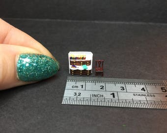 Miniature micro 1:144th 1/144  N scale writing bureau with books pens and chair