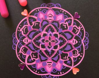 ORIGINAL Pink Mandala Art With Decorative Gems