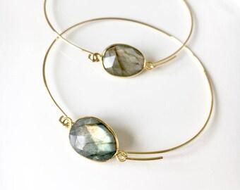 Summer gold plated bangle bracelet 16 k, labradorite connector gold plated 24 k