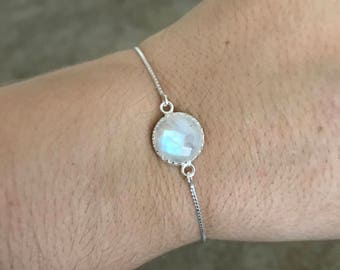 Sterling Silver Genuine Rainbow Moonstone Crown bezel bolo bracelet. 925 solid sterling silver. Bridesmaid gift. Dainty bracelet. Moonstone