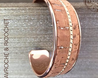 Rose gold plated brass and Cork Cuff Bracelet