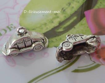 Set of 5 charms car style 2 cv Ladybug silver metal