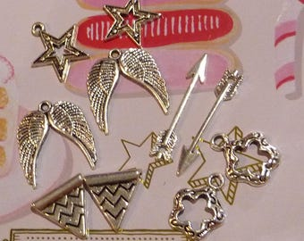 Set of 10 silver-plated star flower wing pennant triangle arrow charms