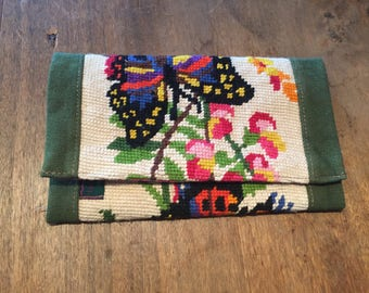 Clutch purse - Butterfly canvas - Upcycling