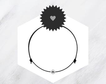 Friendship bracelet Black with sterling silver button