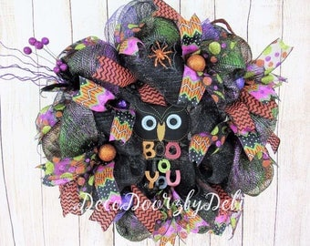 Boo to You Halloween owl wreath, Deco mesh Halloween wreath, Halloween owl wreath, Front door wreath, Halloween decorating, Halloween decor
