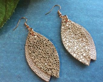 Rose gold leaf leather earrings, double leaf metallic rose gold leather earrings, rose gold leather earrings