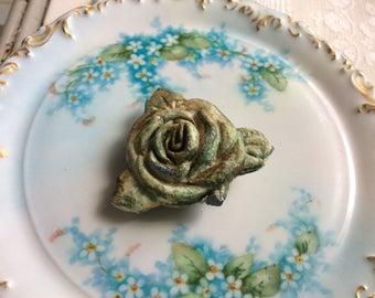 Antique Salvaged Pot Metal Rosette for Repurpose, Art, Crafts
