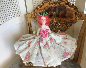 Antique German Composition Half Doll Crowned Princess in Beautiful Dress with Velvet and Satin Millinery Flower