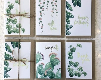 Set of Four Botanical Greeting Cards