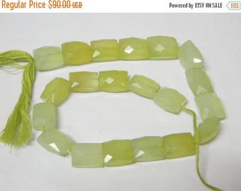 10 inch strand--10x12 - 10x14 mm approx-- Parrot Green Chalcedony Faceted Chicklet Briolettes