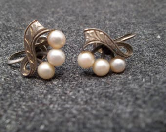 Earrings, Sterling Silver and Pearls