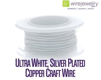 Ultra White, Silver Plated Copper Craft Wire, Round, Various Gauges and Lengths