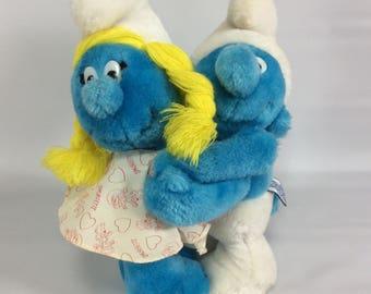 Smurf Valentine Couple Smurfette Hugging Smurf Vintage Plush 1982 Peyo Wallace Berrie Smurf Couple