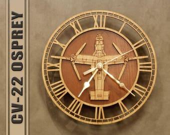 CV-22 Osprey Wooden Wall Clock, Air Force Marines Navy Aircraft Gift, Airplane, Wood Clock, Aviation Gift, Military Gift Pilot Gift