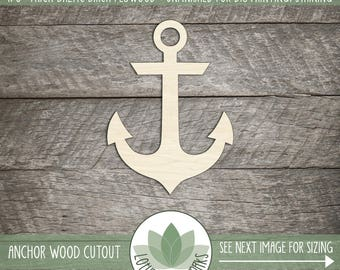 Wood Anchor Shape, Unfinished Wood Anchor Laser Cut Shape, DIY Craft Supply, Many Size Options