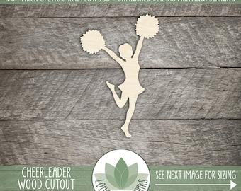 Wood Cheerleader Laser Cut Shape, Cheerleader Room Decoration, Cheerleader, Wood Cheerleader, DIY Crafting Supply, Many Sizes And Shapes