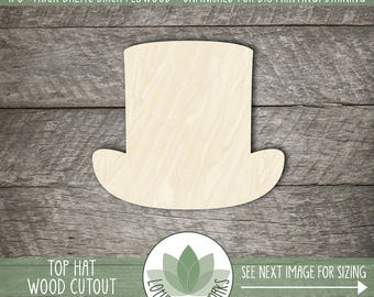 Top Hat Wood Cut Shape, Unfinished Wood Top Hat Laser Cut Shape, DIY Craft Supply, Many Size Options