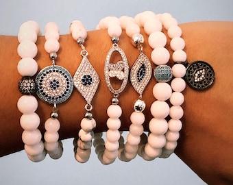 Evil Eye on White Howlite and White Jade Bead Bracelets