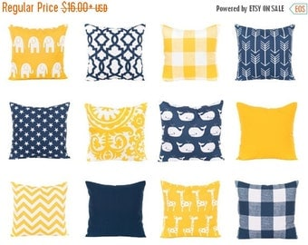 SALE ENDS SOON Navy and Yellow Pillows, Navy Pillow Covers, Yellow Nursery Decor, Lattice, Star Pillows, Nautical Pillowcases, Solid Navy, S