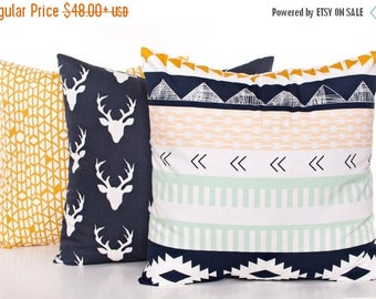 SALE ENDS SOON Decorative Nursery Pillows, Gold and Navy Pillow Covers, Deer Pillow, Kilim Pillow, Kids Room Decor, Navy Throw Pillow
