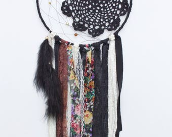 Black boho doily dreamcatcher, dream catcher, with crecent moon webbing, browns, creams and blacks
