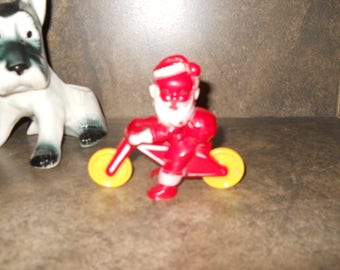 Vintage Santa Claus on Motorcycle Kids Toy/Candy Holder