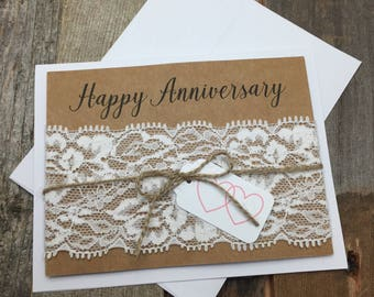Happy Anniversary Card, Anniversary Card, Lace Anniversary Card, Shabby Chic Anniversary Card, Rustic Anniversary Card, Happy Anniversary