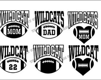 Wildcats Football with Numbers Download Files - SVG, DXF, EPS, studio3  Vinyl Cut Files, Digital Cut Files -Use with Cricut and Silhouette