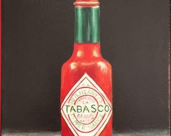 Tabasco bottle. Original artwork 8x10 acrylic painting