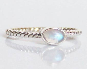 100% 925 Solid Sterling White Moonstone Stacking Ring - Size 7 or 8 - multiple designs