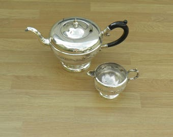 Teapot & Milk Jug - Silver Plated/EP Copper - Viking Plate - Made in Canada - Vintage Silverplate