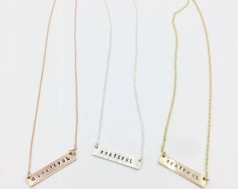 Custom sterling silver bar necklaces